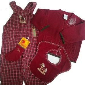 NWT 4p Gymboree Rocking Horse Overalls Sweater 3 6